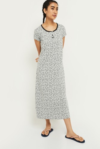 MAX Floral Print Cap Sleeves Gown