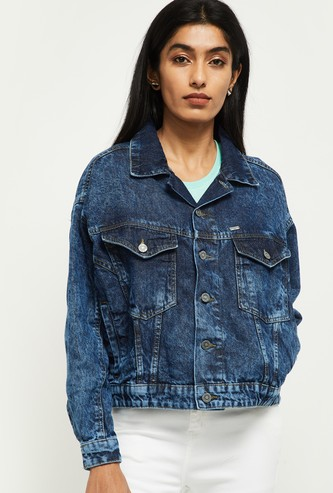 MAX Stonewashed Full Sleeves Denim Jacket