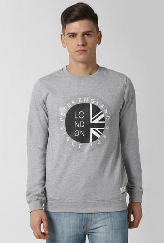 PETER ENGLAND Printed Full Sleeves Sweatshirt with Pocket