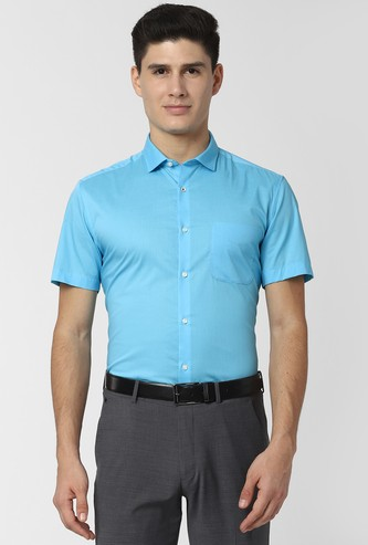 PETER ENGLAND Solid Sport Fit Formal Shirt with Short Sleeves