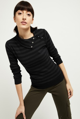MAX Striped High-Neck Sweatshirt