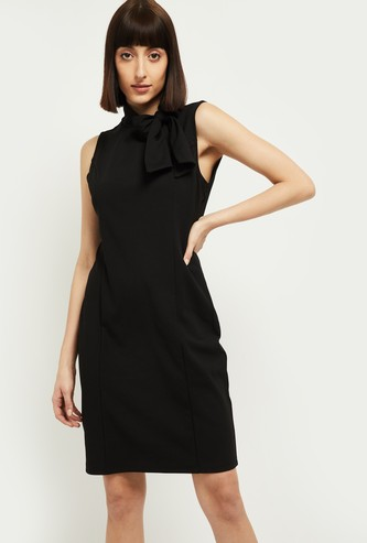 MAX Solid Sleeveless Sheath Dress with Tie-Up