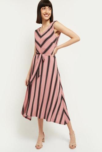 MAX Striped V-neck Sleeveless A-line Dress
