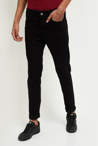 MAX Solid Skinny Jeans with 3D Whiskers
