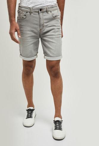 MAX Washed Stretchable Denim Shorts