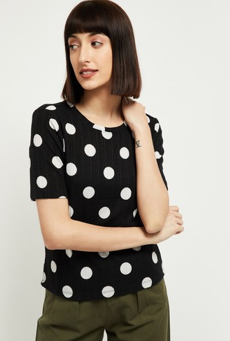 MAX Polka Dot Print Round Neck T-shirt