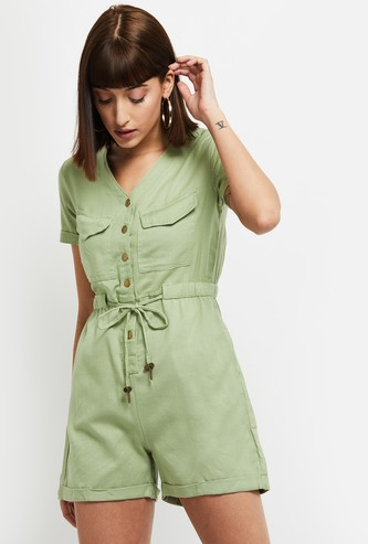 MAX Solid V-neck Playsuit with Tie-Up