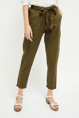 MAX Cropped Pants with Sash Tie-Up