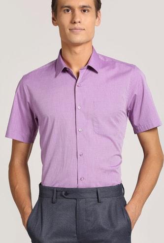 PETER ENGLAND Solid Short Sleeves Slim Fit Formal Shirt