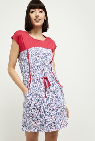 MAX Printed Colourblock Night Dress with Scoop Pockets