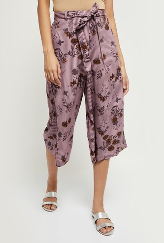 MAX Printed Culottes with Tie-up Waist