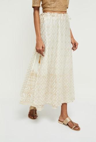 MAX Foil Print A-line Midi Skirt