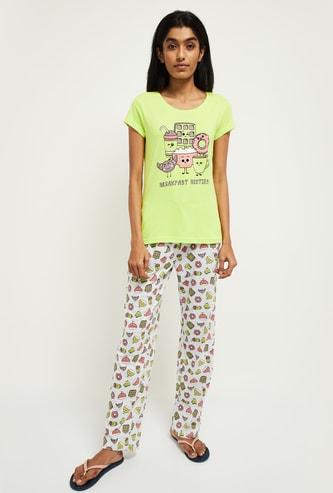 MAX Printed T-shirt with Pyjama Pants