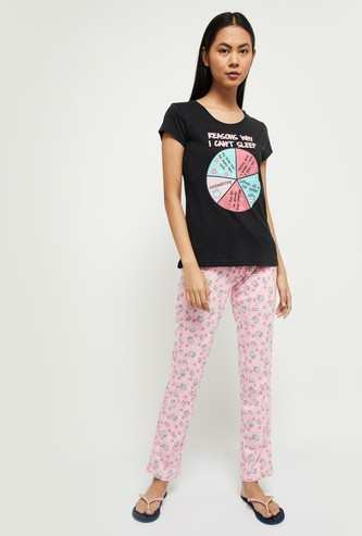 MAX Printed Lounge T-shirt with Lounge Pants