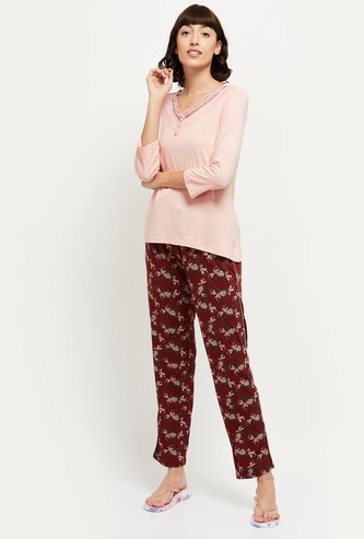 MAX Printed Lounge Pants with T-shirt