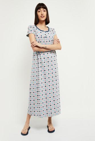 MAX Polka-Dot Print Night Dress