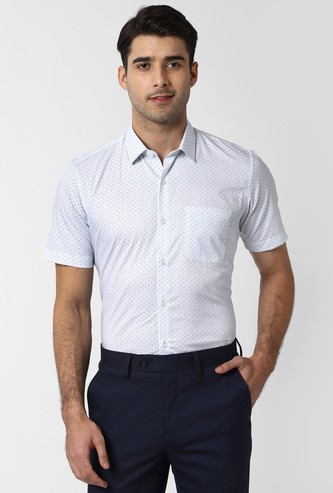 PETER ENGLAND Printed Short Sleeves Nuvo Fit Formal Shirt