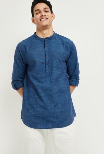MAX Solid Band-Collar Shirt Kurta