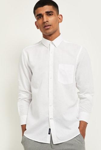 MAX Solid Linen Smart Slim Fit Casual Shirt