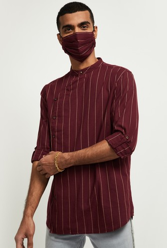 MAX Striped Full Sleeves Short Kurta with Face Mask