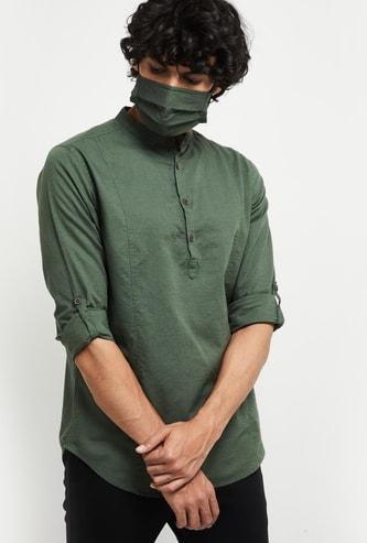 MAX Solid Full Sleeves Short Kurta with Mask