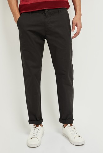 MAX Solid Slim Fit Ankle-Length Chinos