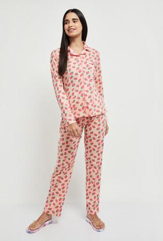 MAX Strawberry Printed Lounge Shirt with Pyjamas