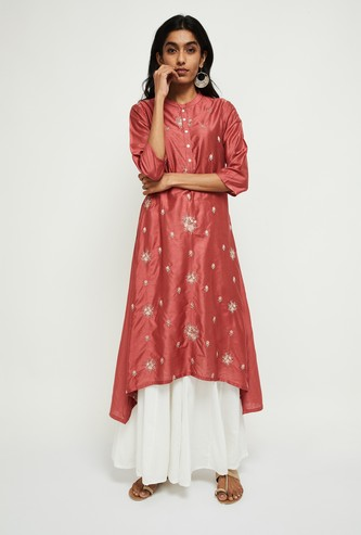 MAX Floral Embroidery High-Low Flared Kurta