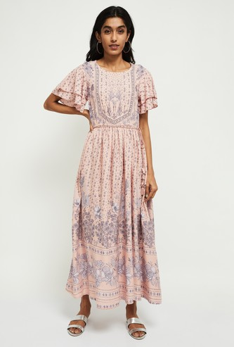 MAX Floral Print Maxi Dress with Tiered Sleeves