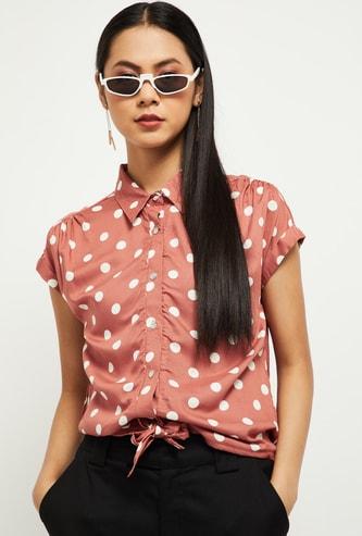MAX Polka Dot Print Tie-Up Shirt