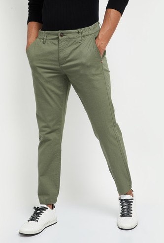 MAX Solid Skinny Fit Cropped Chinos