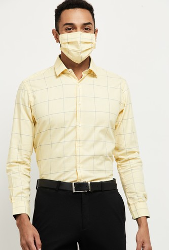 MAX Checked Slim Fit Formal Shirt with Face Mask