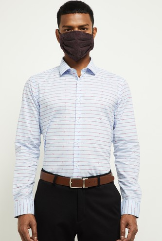 MAX Printed Slim Fit Formal Shirt with Face Mask