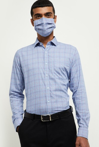 MAX Checked Regular Fit Casual Shirt with Face Mask