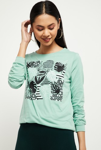 MAX Printed Round Neck Sweatshirt