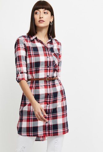 MAX Checked Longline Shirt with Belt