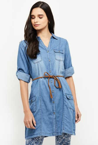 MAX Lightly Washed Denim Shirt Tunic with Tie-Up Belt