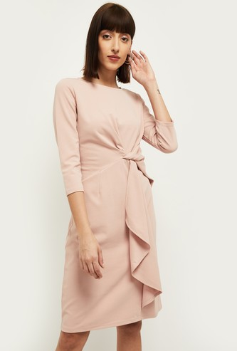 MAX Solid Knee-Length Dress with Knot Detail