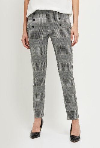 MAX Checked Knit Bottom Full Length Trousers