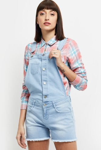 MAX Solid Denim Dungarees with Frayed Hems