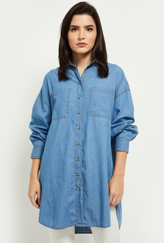 MAX Collared Denim Oversized Shirt with Long Sleeves