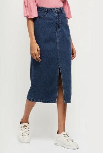 MAX Solid Midi Denim Skirt
