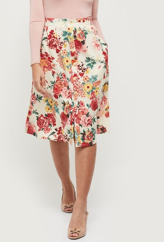 MAX Floral Print Pleated A-line Skirt