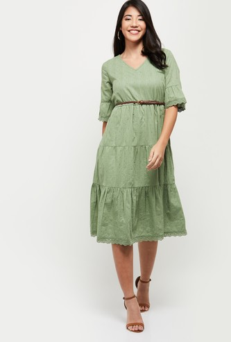 MAX Textured Tiered Dress with Belt