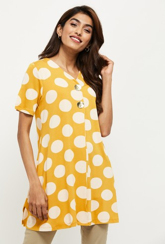 MAX Polka Dot Print V-neck Tunic