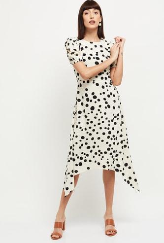 MAX Polka Dot Print Asymmetric Dress