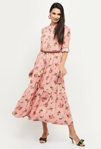 MAX Floral Print Three Quarter Sleeves Midi Dress with Belt