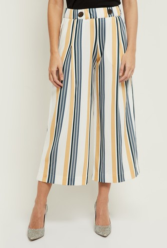 MAX Striped Culottes with Faux Button Accent