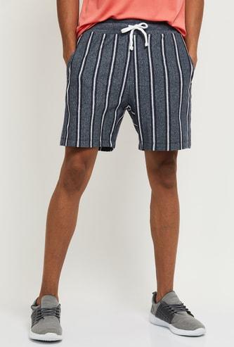 MAX Striped Drawstring Waist Shorts