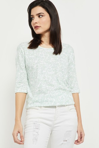 MAX Printed Round Neck Styled Back T-shirt